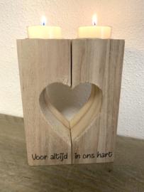 hart kandelaar hout, voor altijd in ons hart