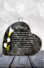 In memoriam hart met mini urn: Ik mis je