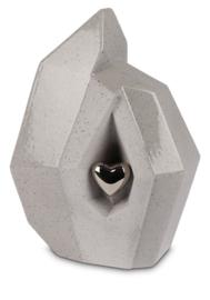 urn Grijs  met zilveren  hart - 3,8L