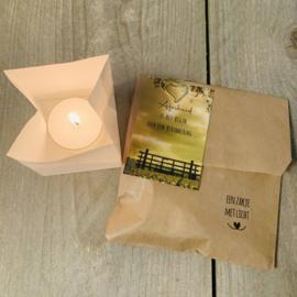 Candle bag -Afscheid... begin herinnering-   , zakje met licht