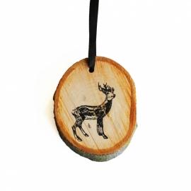Houten hanger hert met gewei