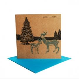 Kerstkaart winterlandschap hert, turquoise