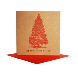 Kerstkaart boom, rood
