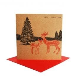Kerstkaart winterlandschap hert,  rood