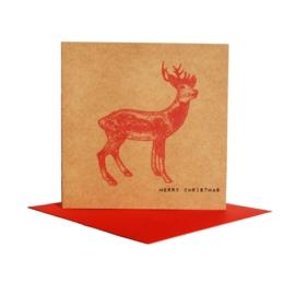 Kerstkaart hert, rood