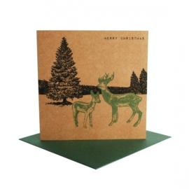 Kerstkaart winterlandschap hert, groen