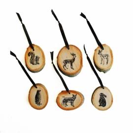 Set houten hangers dieren