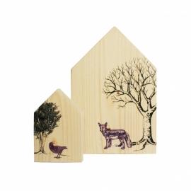 Houten Huisjes Set, vos en kraai