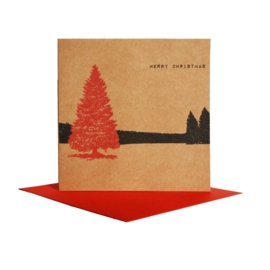 Kerstkaart winterlandschap boom, rood