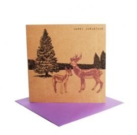 Kerstkaart winterlandschap hert, paars
