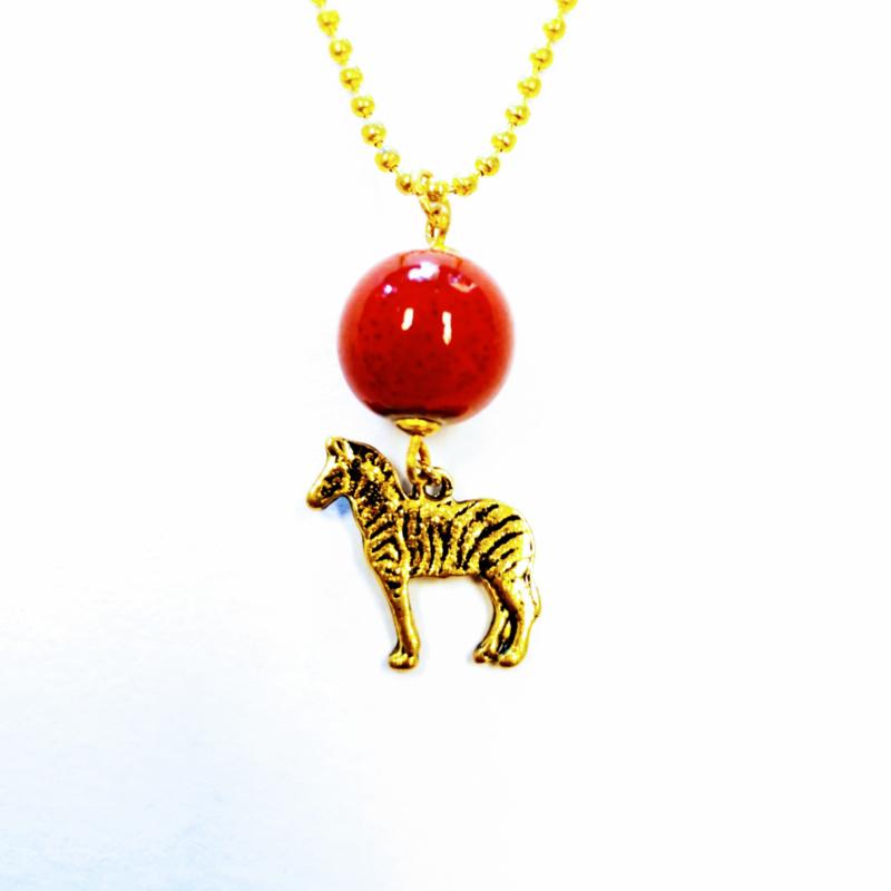 Zebra ketting rood