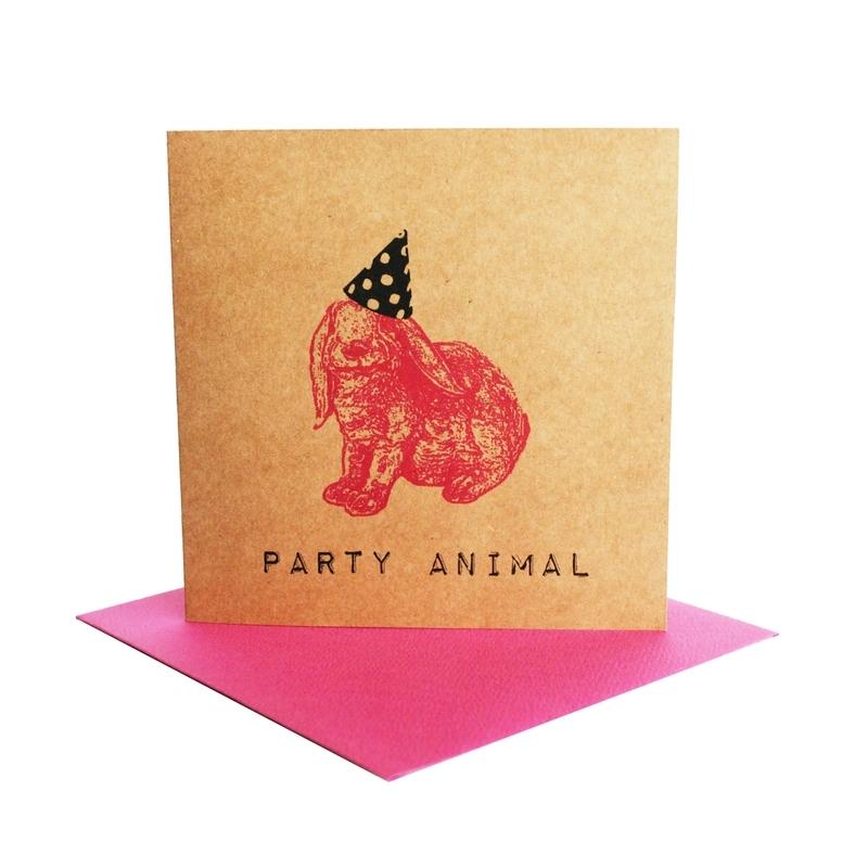 Kaart party animal  konijn fuchsia