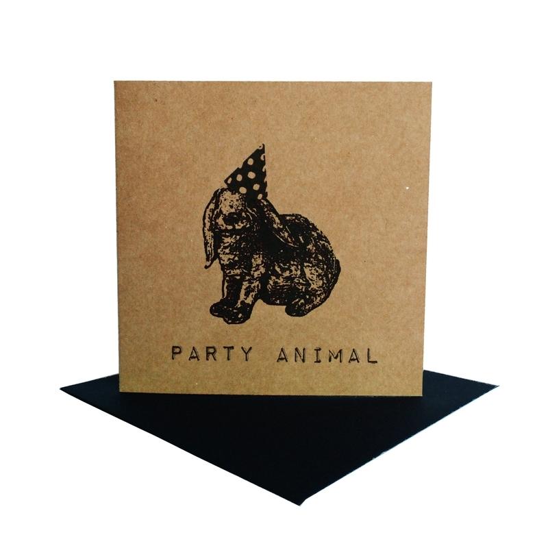 Kaart party animal  konijn zwart