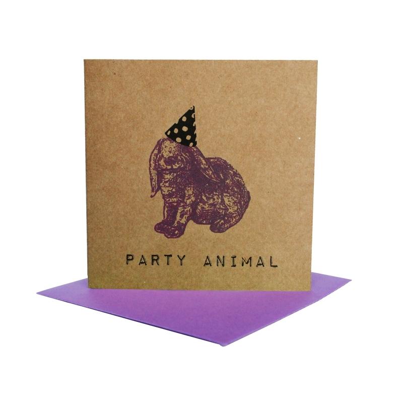 Kaart party animal  konijn paars