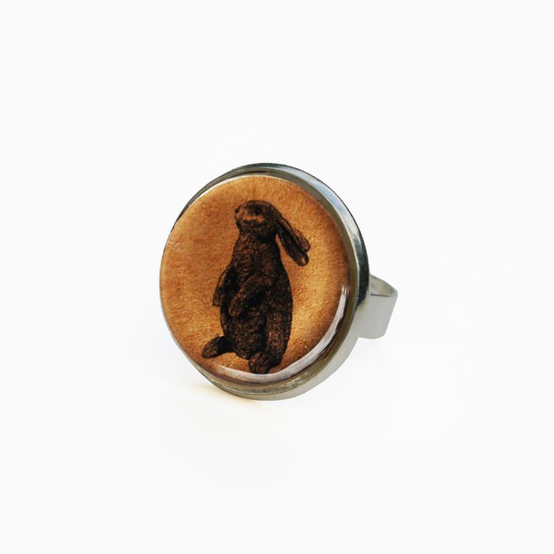 Ring  Animal style staand konijn, L