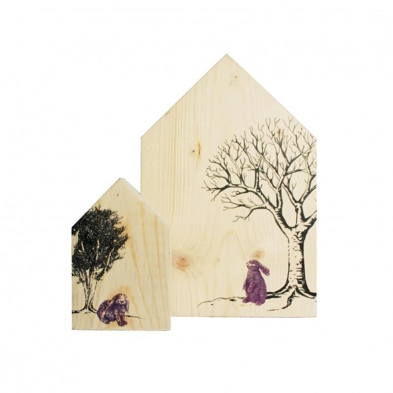 Houten Huisjes Set, konijnen