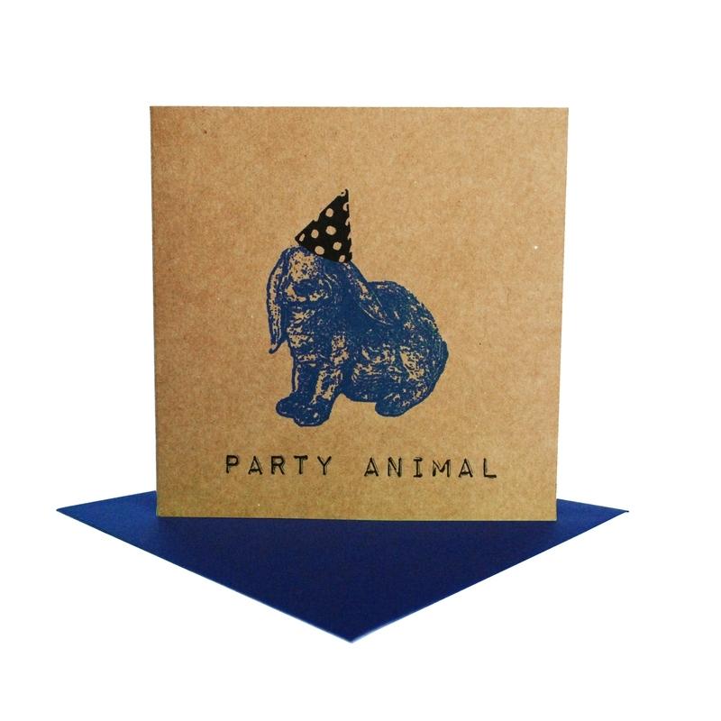 Kaart party animal  konijn blauw