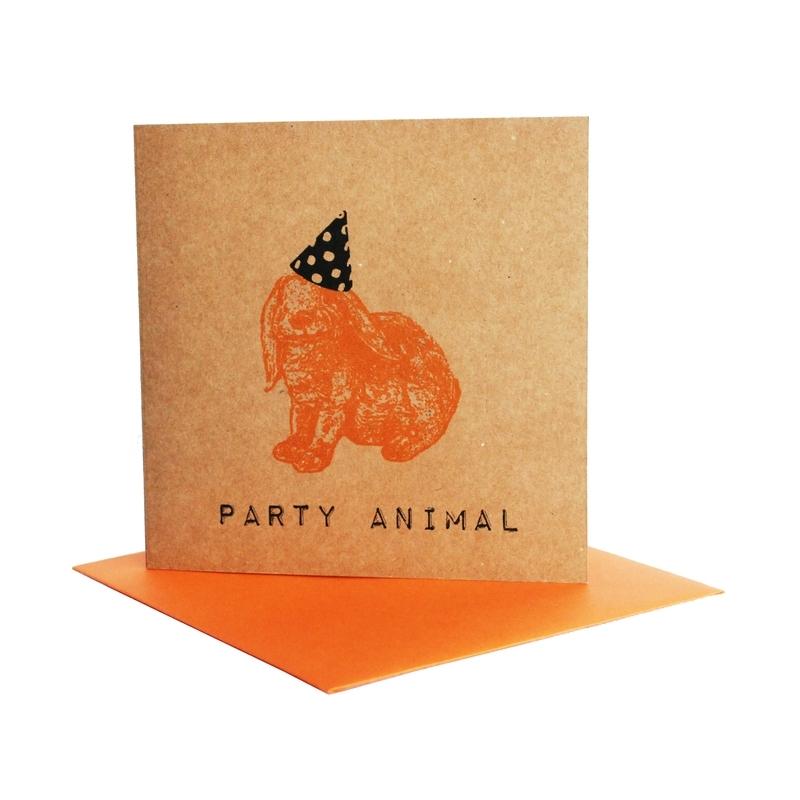 Kaart party animal  konijn oranje