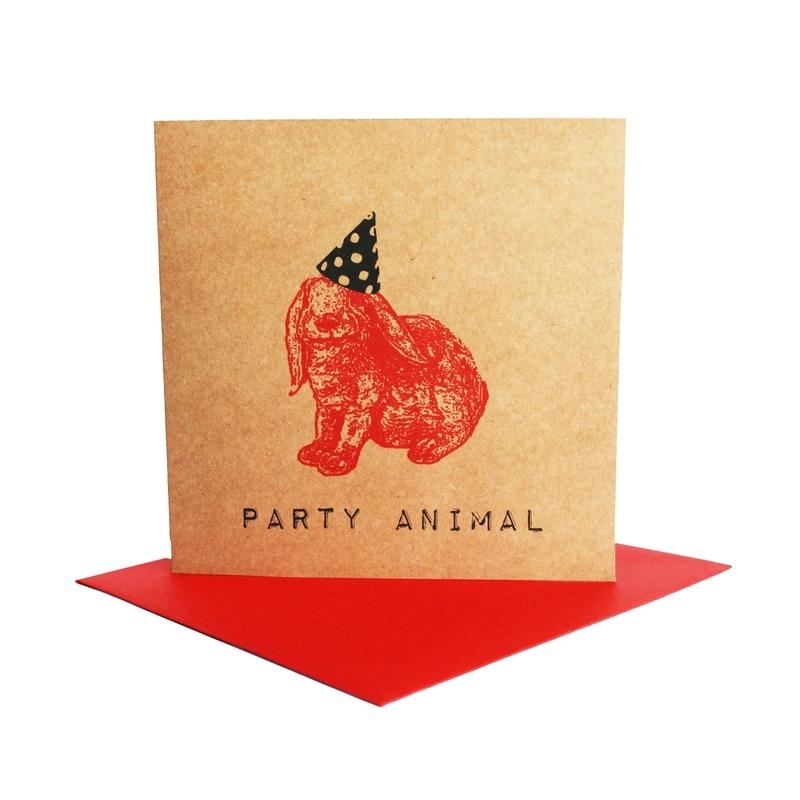 Kaart party animal  konijn rood