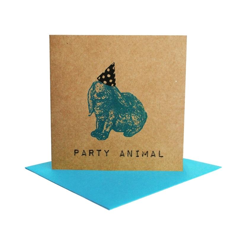 Kaart party animal  konijn turquoise