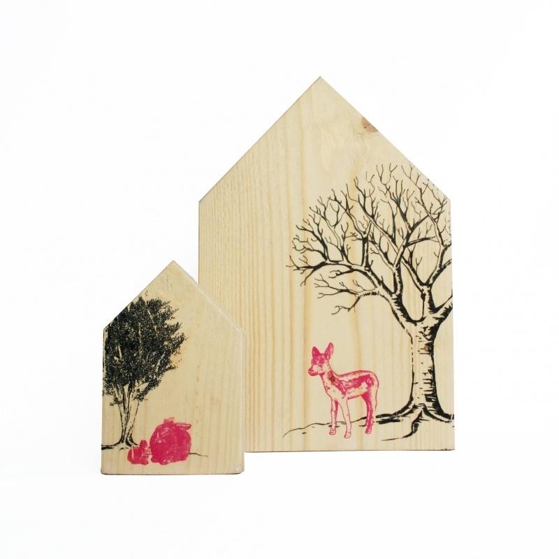 Houten Huisjes Set, babyhert met konijnen