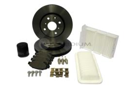 Citroen C1 beurtset bevat 3x bougie, oliefilter, luchtfilter, interieurfilter, remschijven voorzijde, remblokken voorzijde
