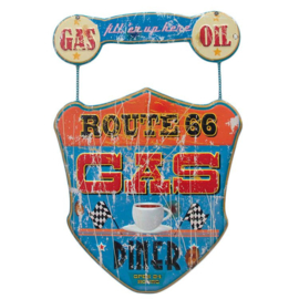 Metal sign Route 66 - Gas, Oil and Diner