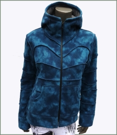 Fleecy Tie Dye winter jacket blue