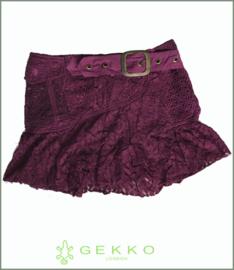 Steampunk frill wrap mini skirt plum