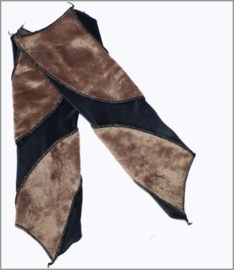 Fake Fur and Velvet wrist warmers steelblue/light brown