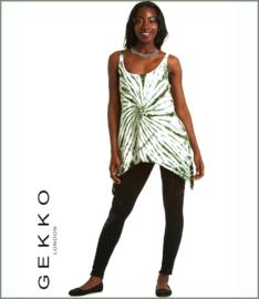 Bamboo pixie tie dye tunic white/ green