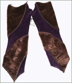 Fake Fur and Velvet wrist warmers purple-brown