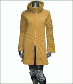 Long fleece jacket overlock mustard warm yellow