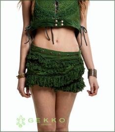 Goa Fringed wrap miniskirt green