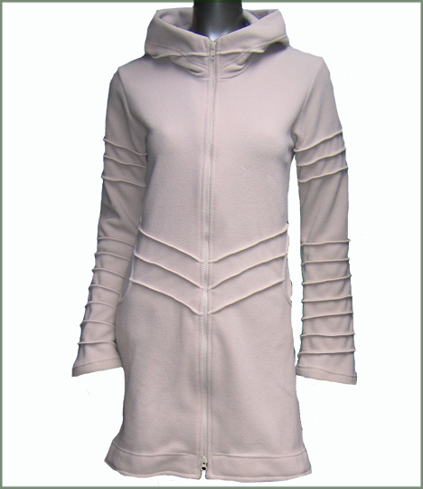 Long fleece jacket overlock creamy white