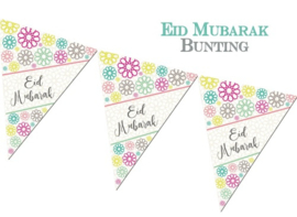 Bunting flags Eid geo flowers