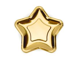 Papieren borden ster goud groot  (6st)