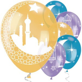 Eid balloons blue gold mix (6pcs)