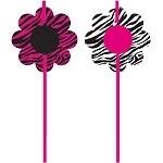 Plastic straws zebra pink
