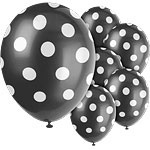 Balloons black polka dots (6pcs)