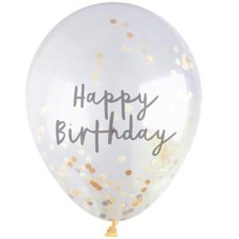 Confettiballon Happy birthday gouden confetti (5st)