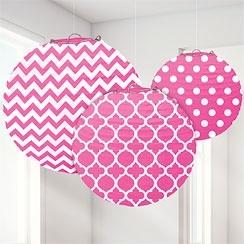 Polka chevron lanterns pink