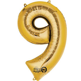 XL foil balloon gold number 9