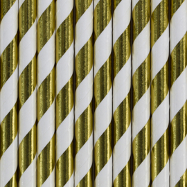Paper straws white/gold foil (10pcs)