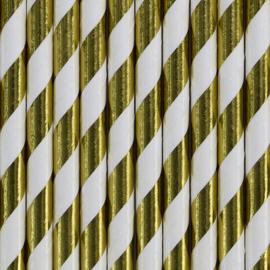 Papieren rietjes gouden folie strepen (10st)