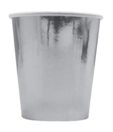 Paper cups silver metallic (8pcs)