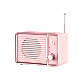 Mini bluetooth speaker retro radio pink