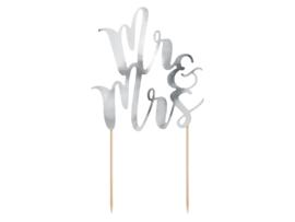 Taart topper Mr&Mrs zilver