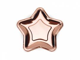 Papieren bordjes ster rose goud (6st)