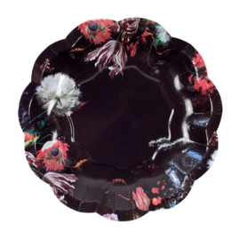 Paper plates black flowers(12pcs)